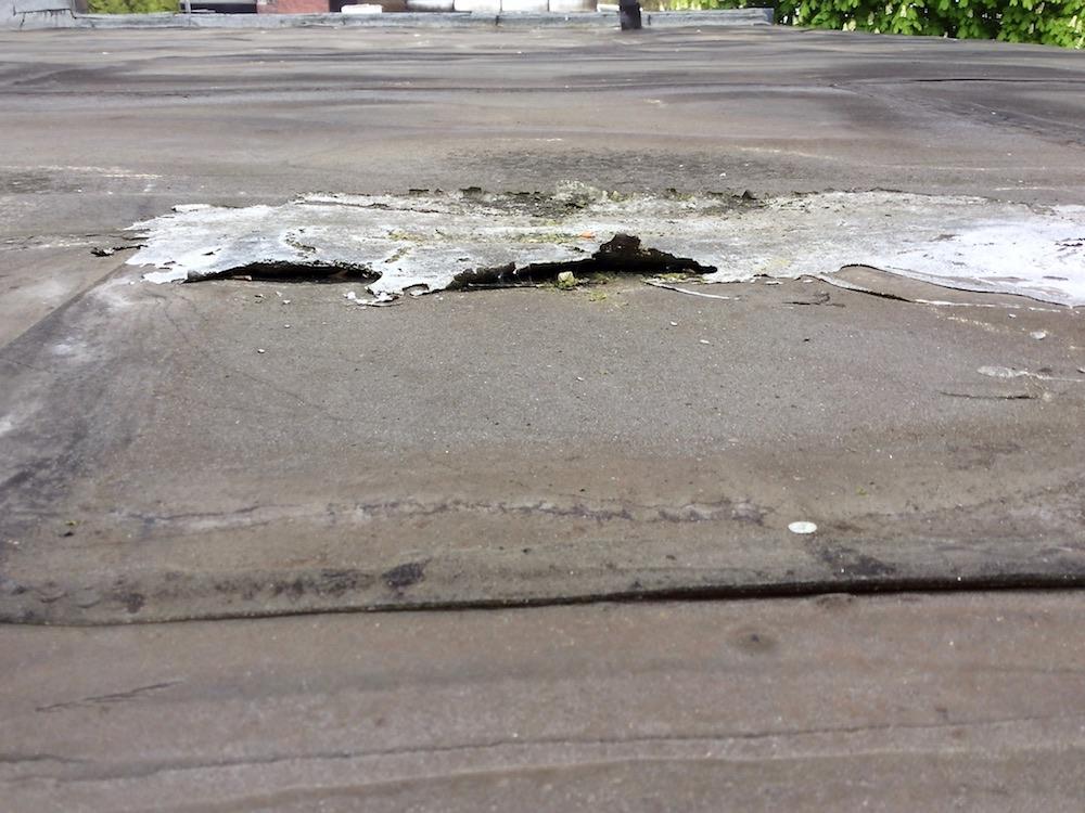 Dachpappe-defekt-Feuchtigkeitschaden-wahrscheinlich